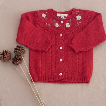 Saco lana Flores bordadas